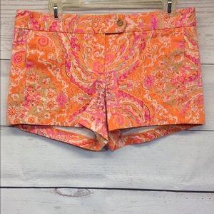 J. Crew Stretch Shorts 10 Orange Multicolor Print